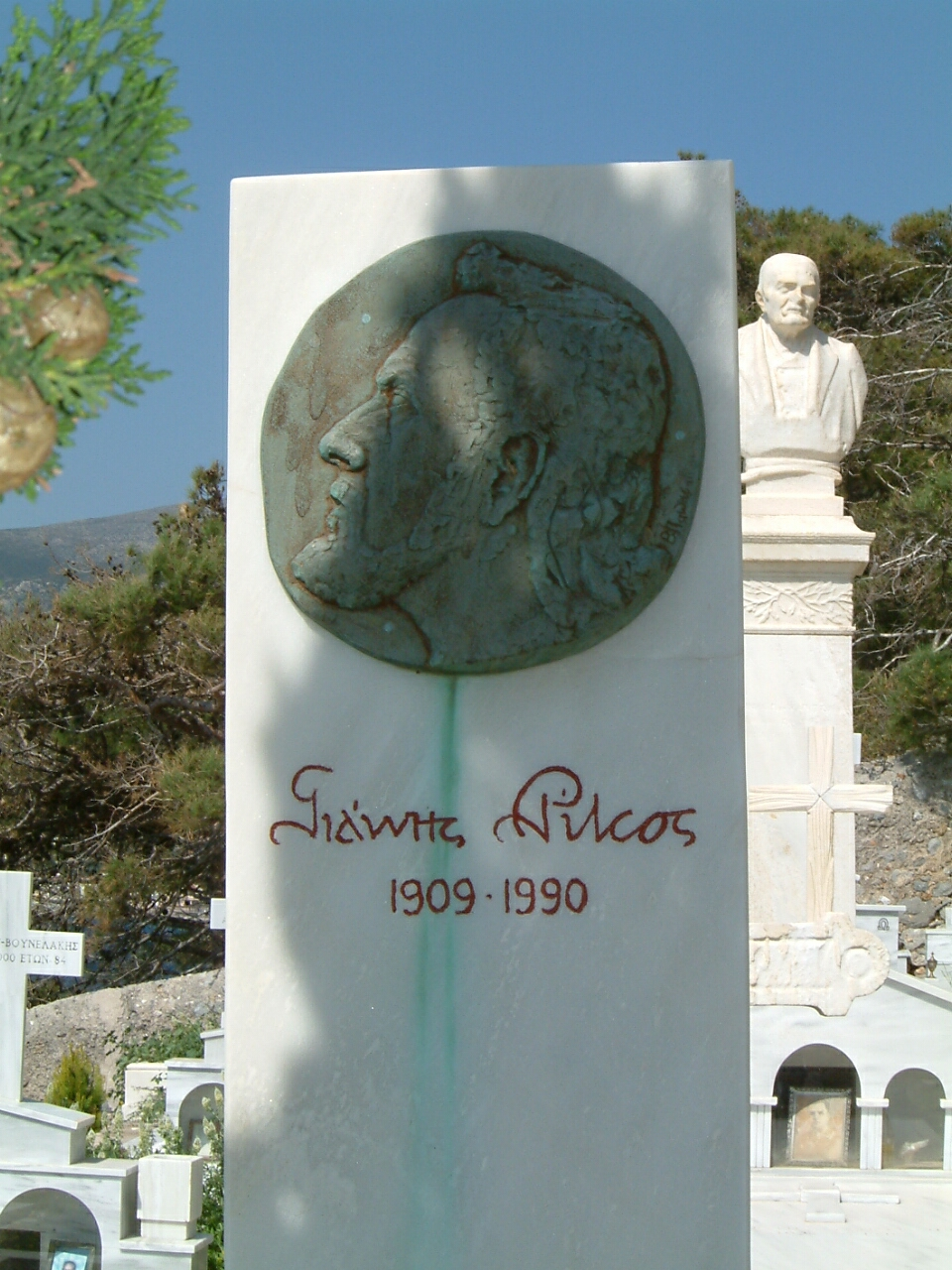 The tomb of Yiannis Ritsos in Monemvasia cemetery